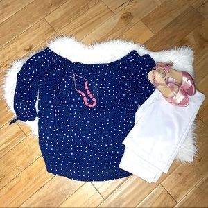 NWT Off the Shoulder Dot Print Blouse/Top Navy